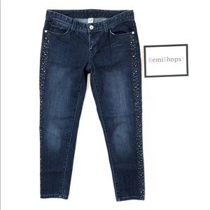 Cache Straight Leg Ankle Jeans Rhinestones Sides